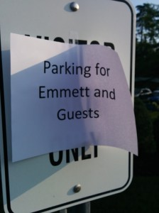 Emmett's reserved parking space at PetSafe
