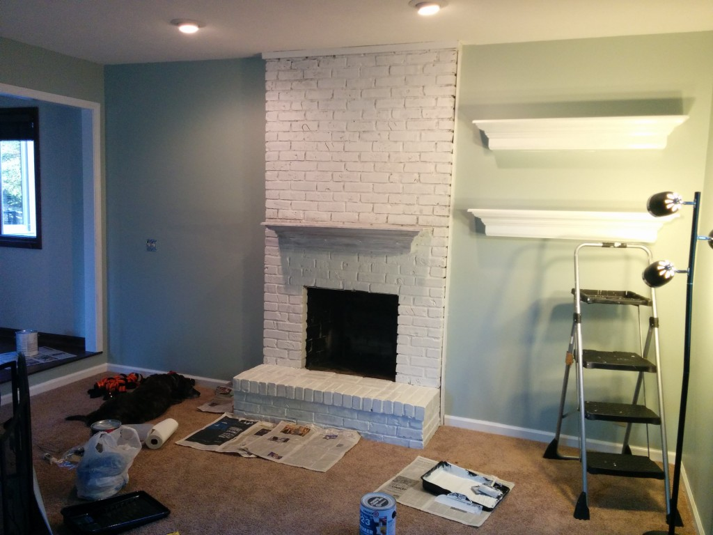 The white fireplace
