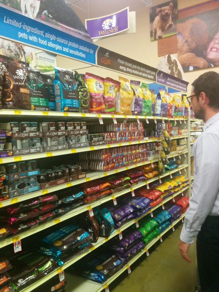 John shops for Wellness at PetSmart