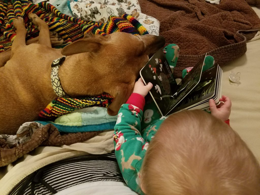 Violet reading to Cooper
