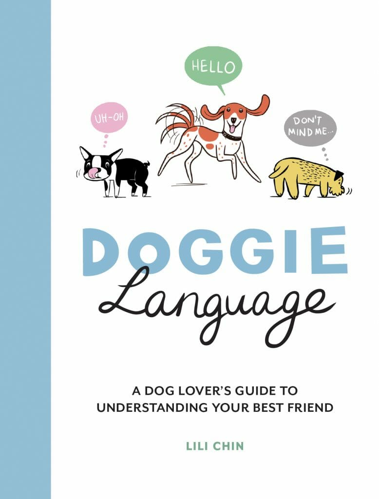 The cover of Doggie Language features illustrations of three dogs, a Boston, a hound, and a terrier.